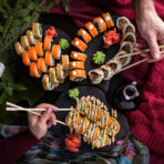 Christmas sushi delicious dish on dark table celebration new year